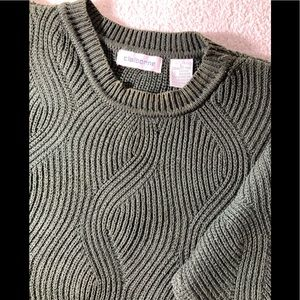 Claiborne Novelty Swirl Weave Cotton Pullover